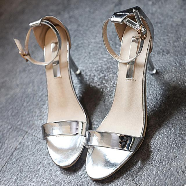 open toe bling gold silver Shoes