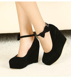 Platform Buckle Ankle Strap Wedges