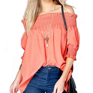 The Half Sleeve Off Sholder Femme Tops
