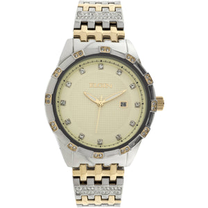 Elgin Men's Two-Tone Champagne Dial Crystal Accented Bracelet Watch - FG9100