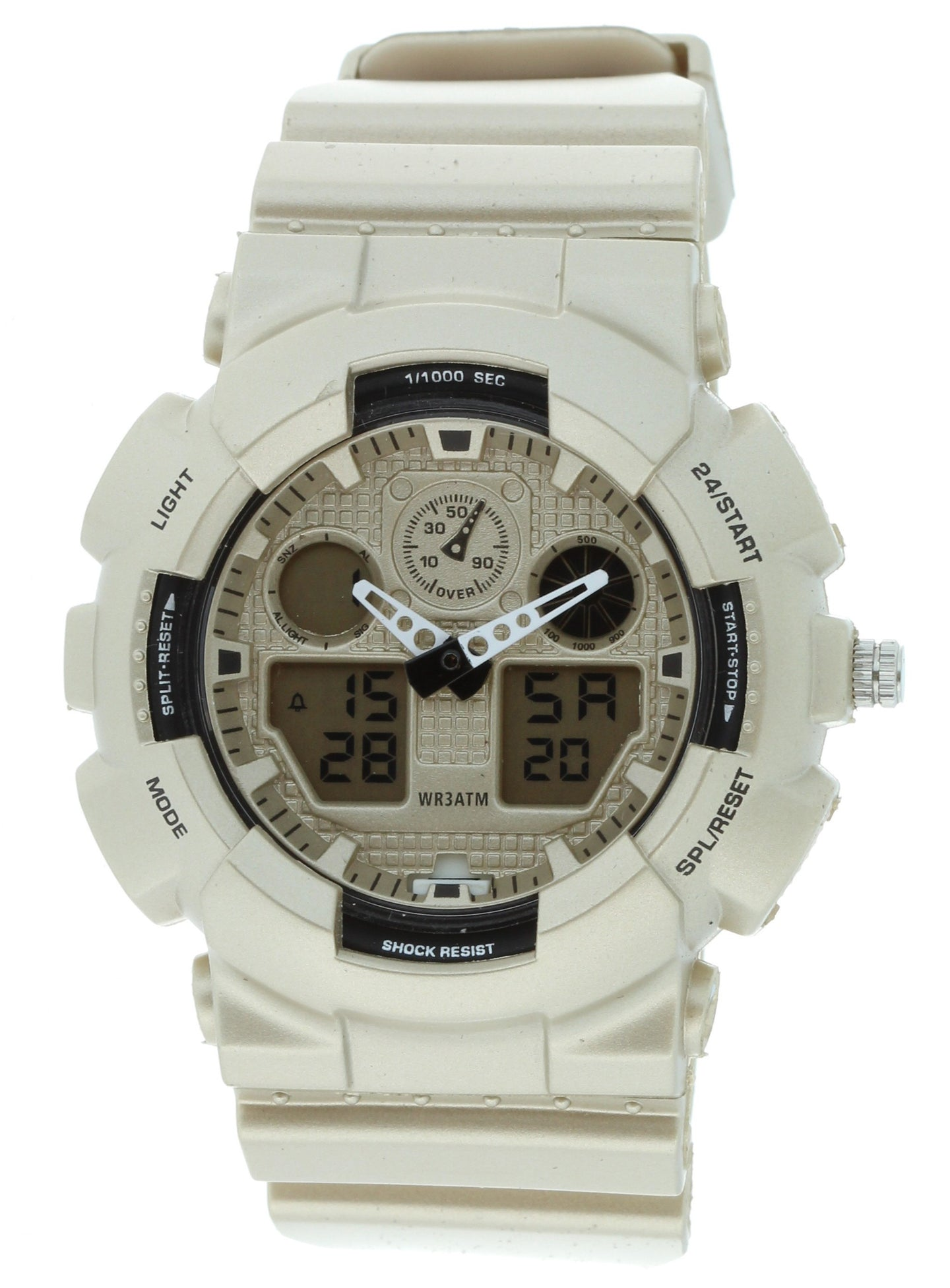 G-Shock Style X-Large Combination Watch-Military Matt Silver Color