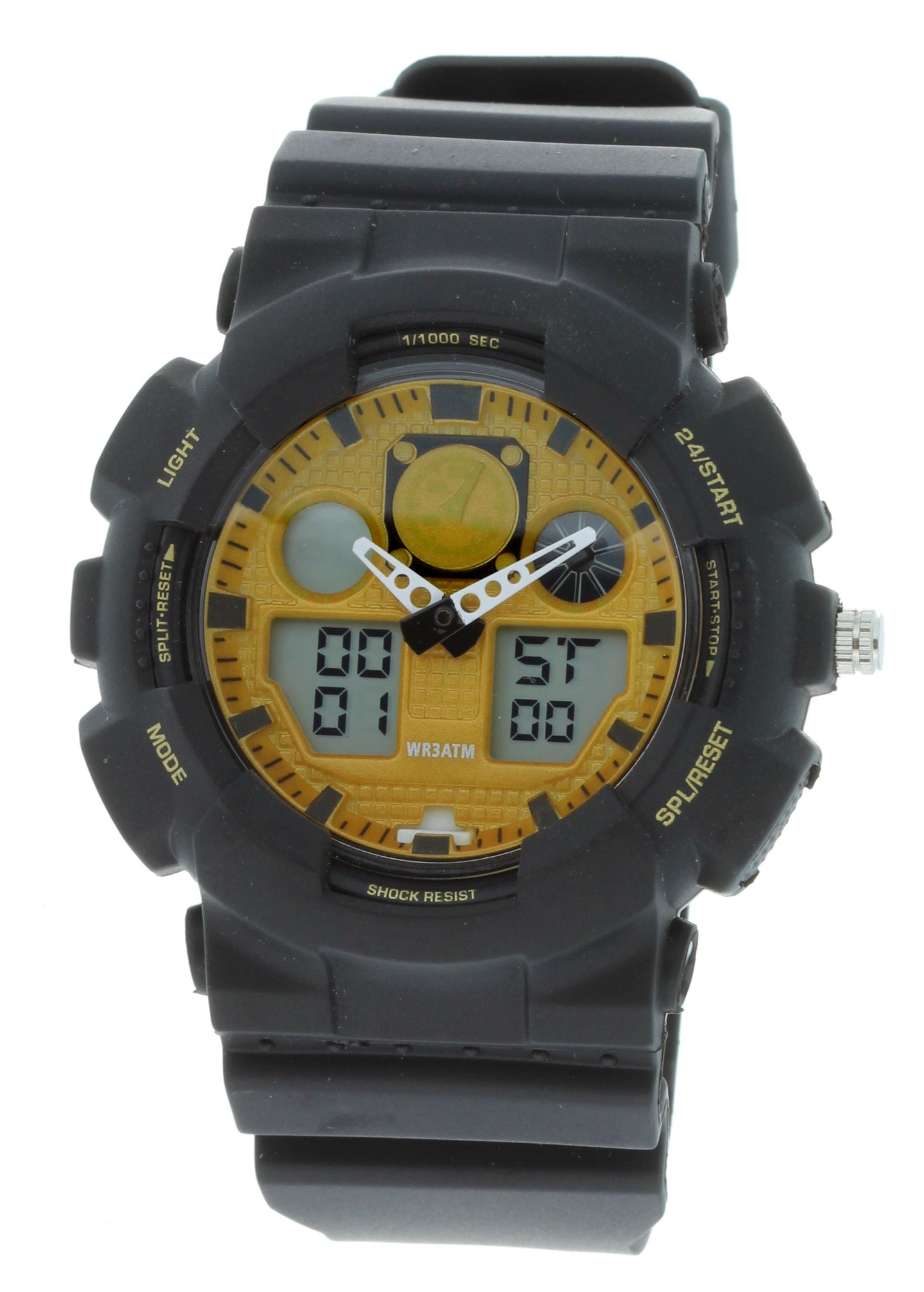 G-Shock Style X-Large Combination Watch--Military Black/ Yellow - BDM4008