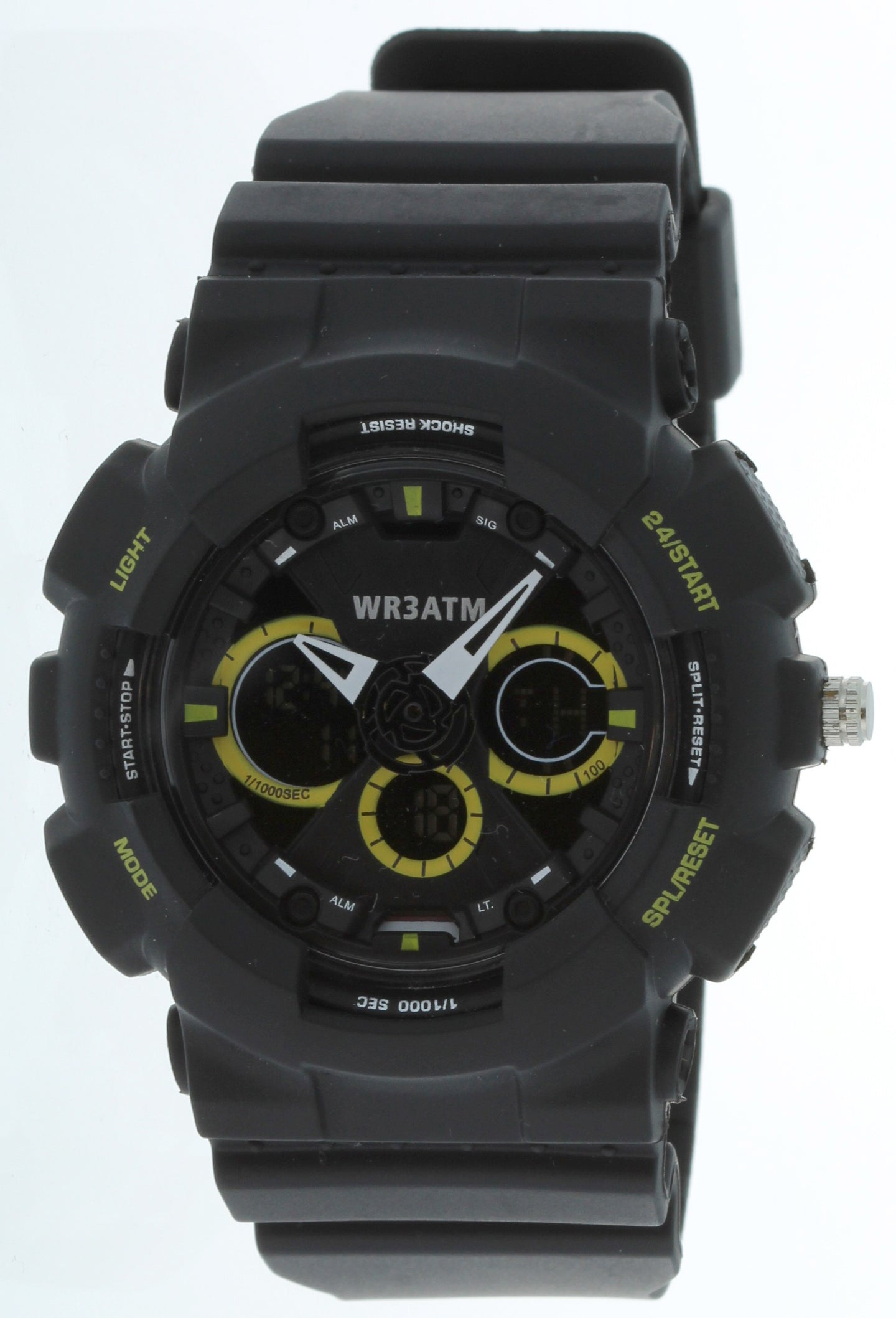 G-Shock Style X-Large Combination Watch--Military Black/Yellow -BDM4011