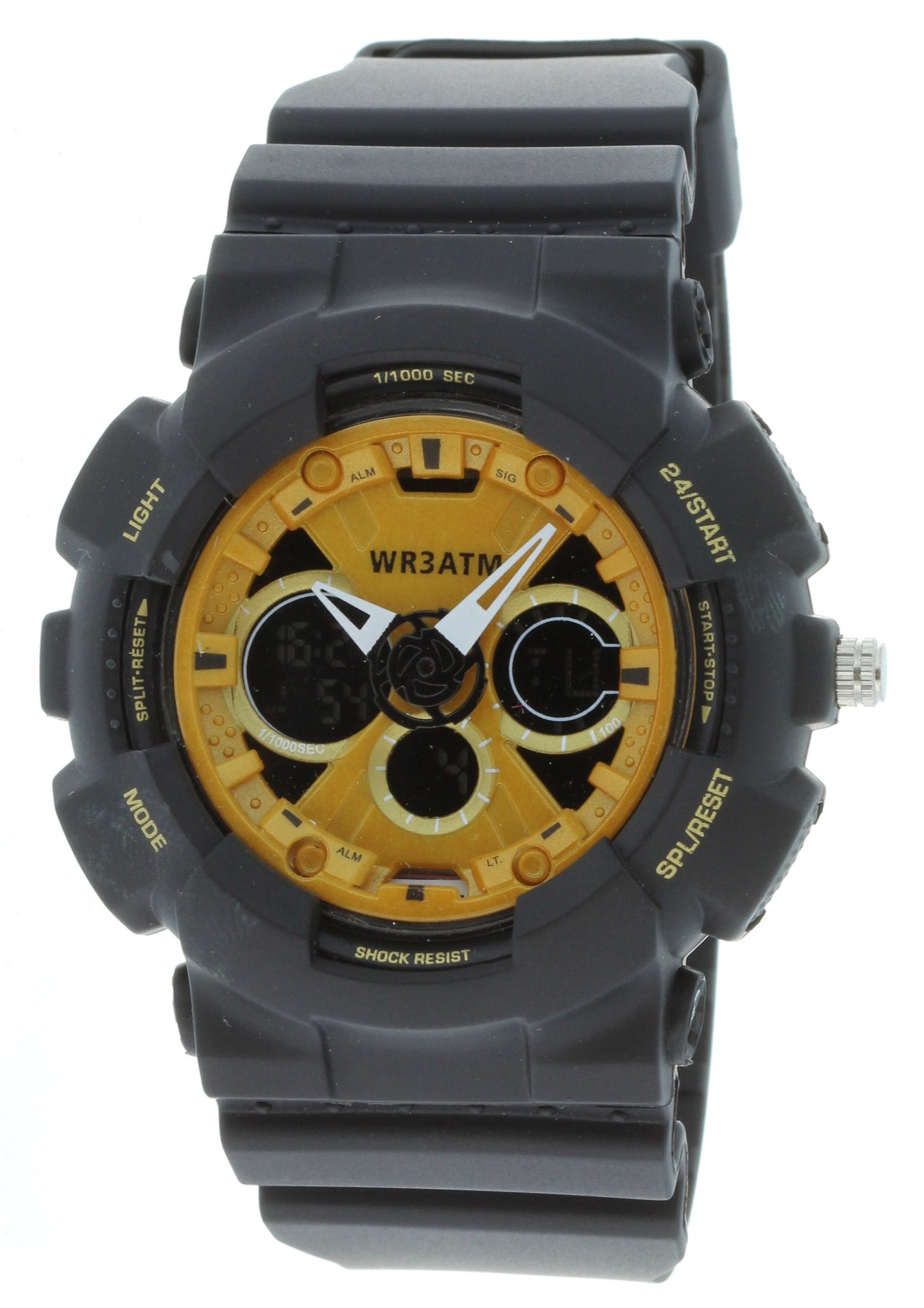 G-Shock Style X-Large Combination Watch--Military Black/ Yellow -BDM4011
