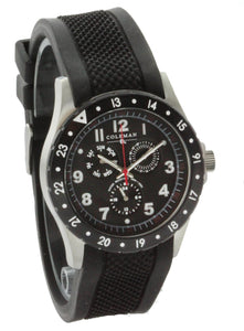 Men's Quartz Multi function Black Rubber Strap Watch COL7108