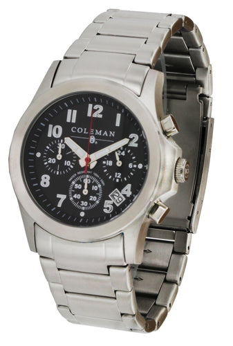 COLEMAN Stainless Steel Chronograph Silver Men's Watch