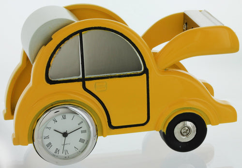 Car shape Miniature clock Tape Dispenser Holder TAPECUTERYEL