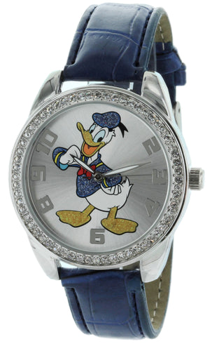 Disney Donald Duck Watch With Stone Bezel and Genuine Leather Strap - DD007