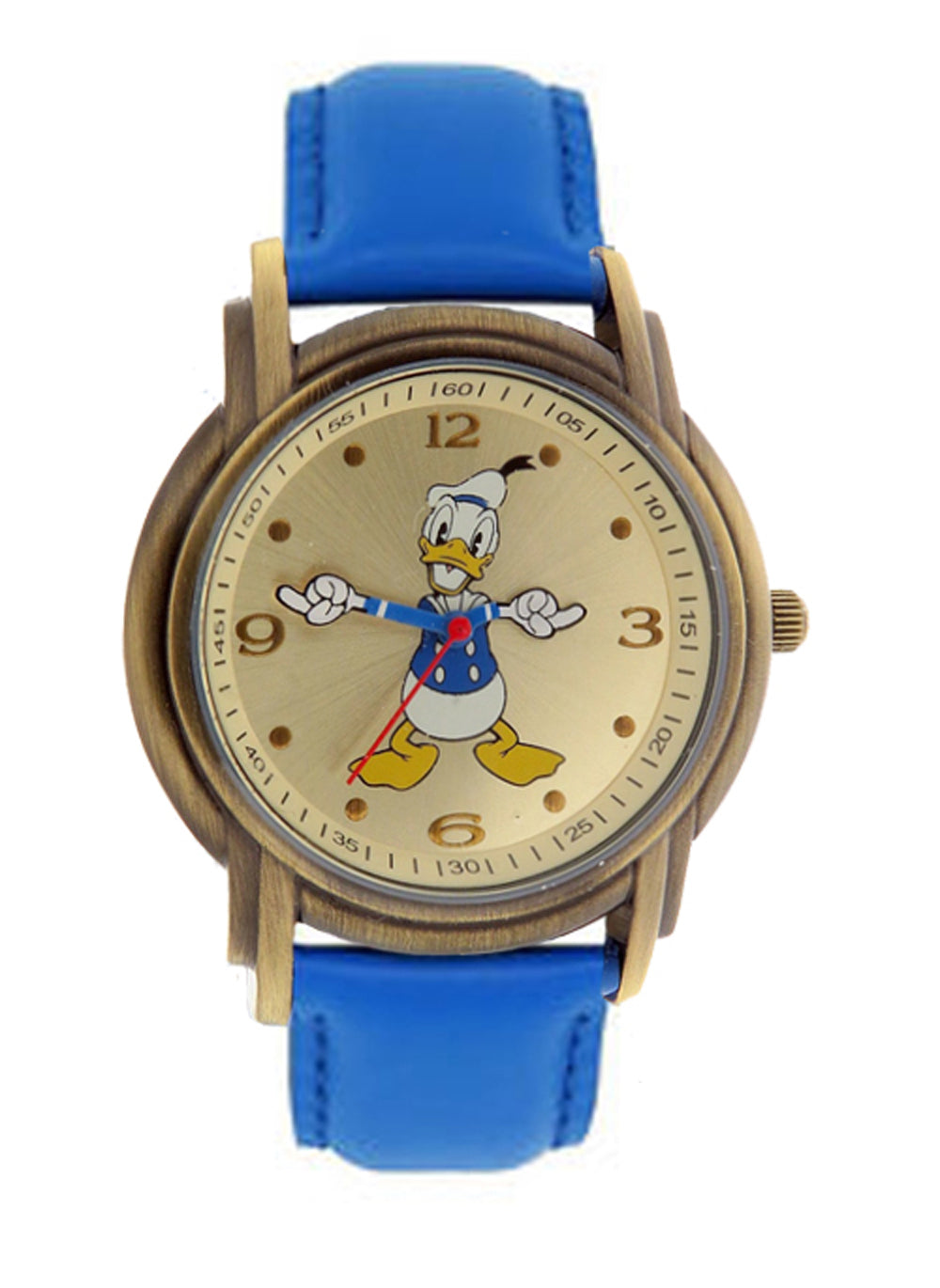 Disney Donald Duck Unisex Gold Tone & Leather Classic Moving Hands Watch DD013