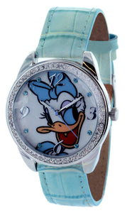 Daisy Duck Watch With Stone Bezel and Genuine Leather Strap