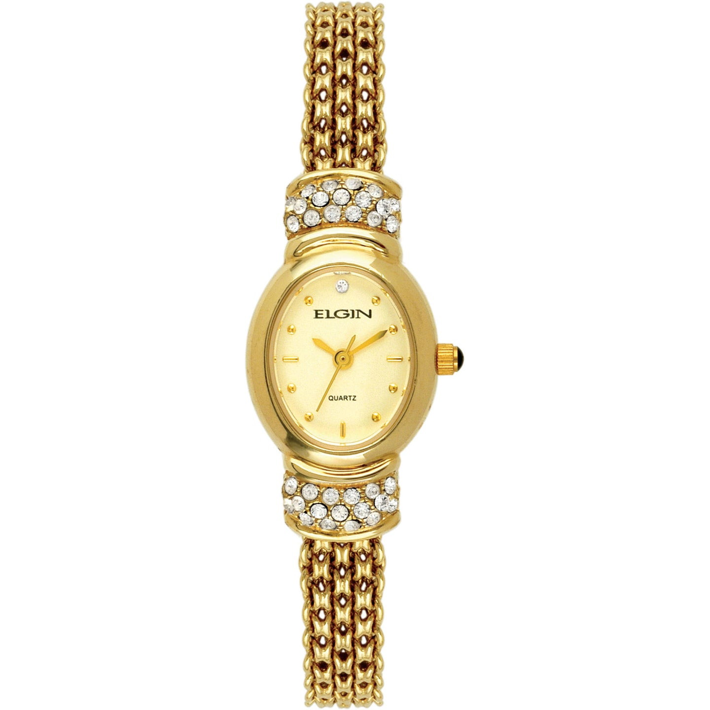 Elgin Women's Gold-Tone Oval Case Champagne Dial Crystal Accented Mesh Bracelet Watch - EG006