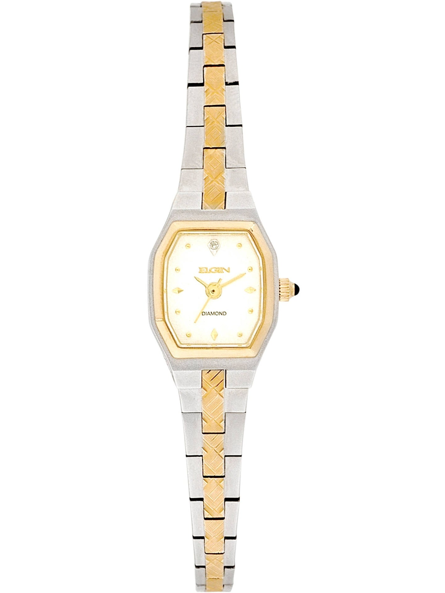 Elgin Women's Two-Tone Silver White Dial Crystal Accented Block Link Bracelet Watch - EG081N
