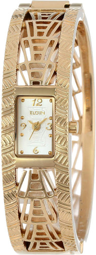 Elgin Quartz Ladies Gold Tone Bracelet Cuff Dress Watch EG1047