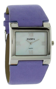 Elgin Women's Silver Case White Dial with Light Purple Leather Strap EG275ST-10