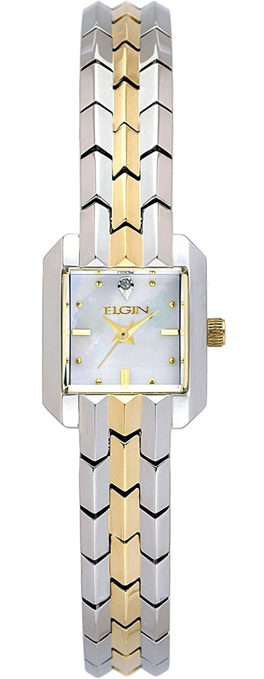 Women's Two-Tone Square Case White Mother of Pearl Dial Polished Bracelet Watch - EG287