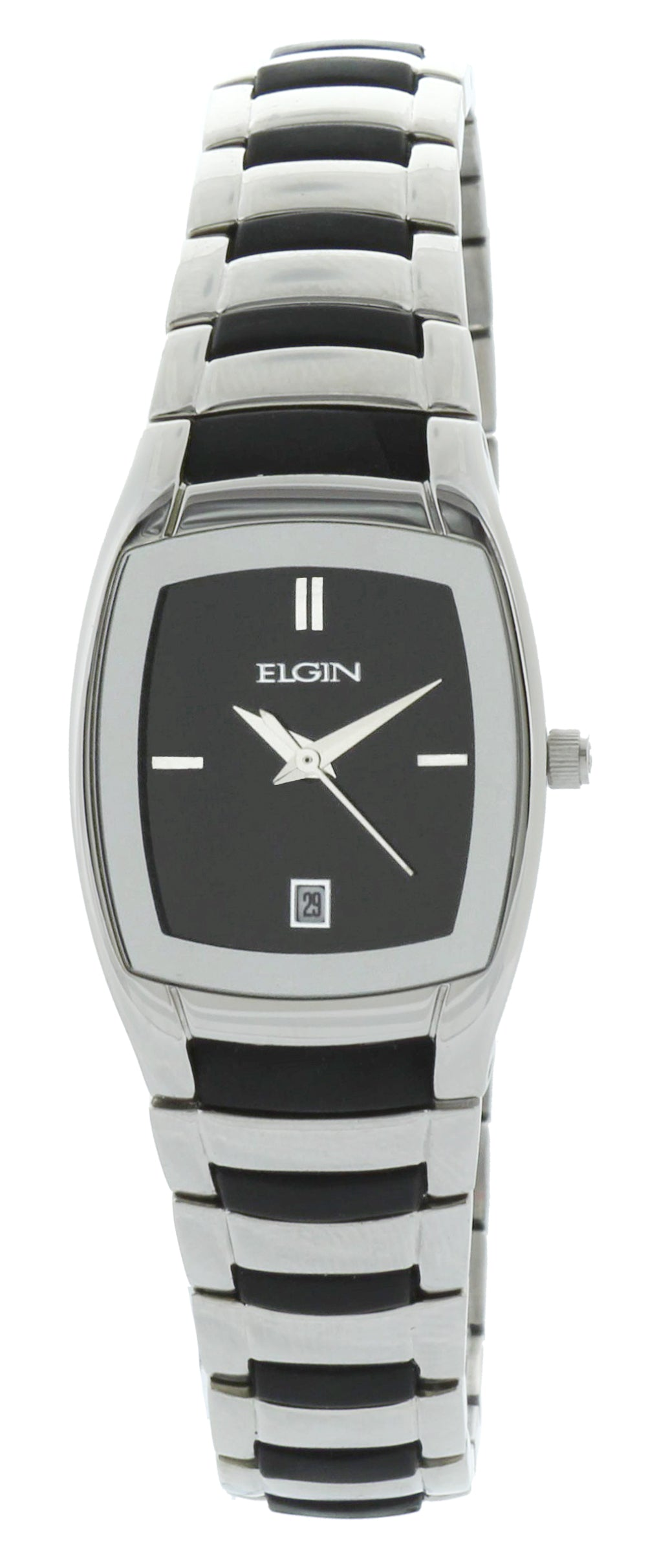 Elgin Women's Silver-Tone Black Sunray Dial Rubber Integrated Bracelet Watch - EG453