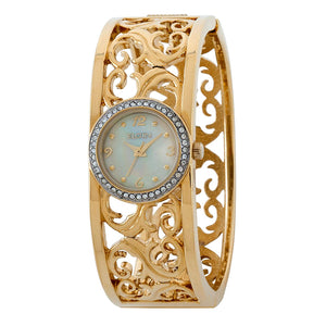 Elgin - Women's Gold Color White Mother of Pearl Dial Czech Crystal Accented Bangle Watch - EG7003