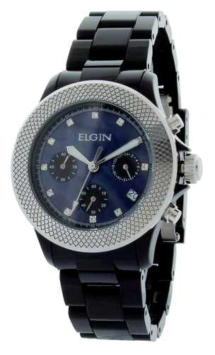 Elgin Ladies Watch Silver Metal Bezel 40MM Chronograph - EG7040B-L61