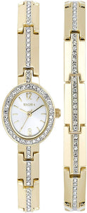 Elgin Women's Crystal Accented Dress Watch and Bracelet Set