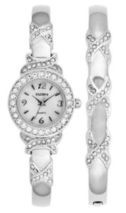 Elgin Women's XO Watch And Bracelet Bangle Set, Silver tone - EG9020