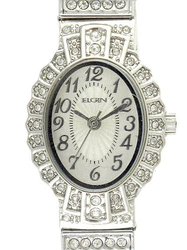 Elgin Women's Crystal Accent Silver-Tone Dressy Expansion Watch - EG9058