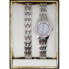 Load image into Gallery viewer, Elgin Women's Swarovski Crystal Accented Watch and Bracelet Set - EG9917ST