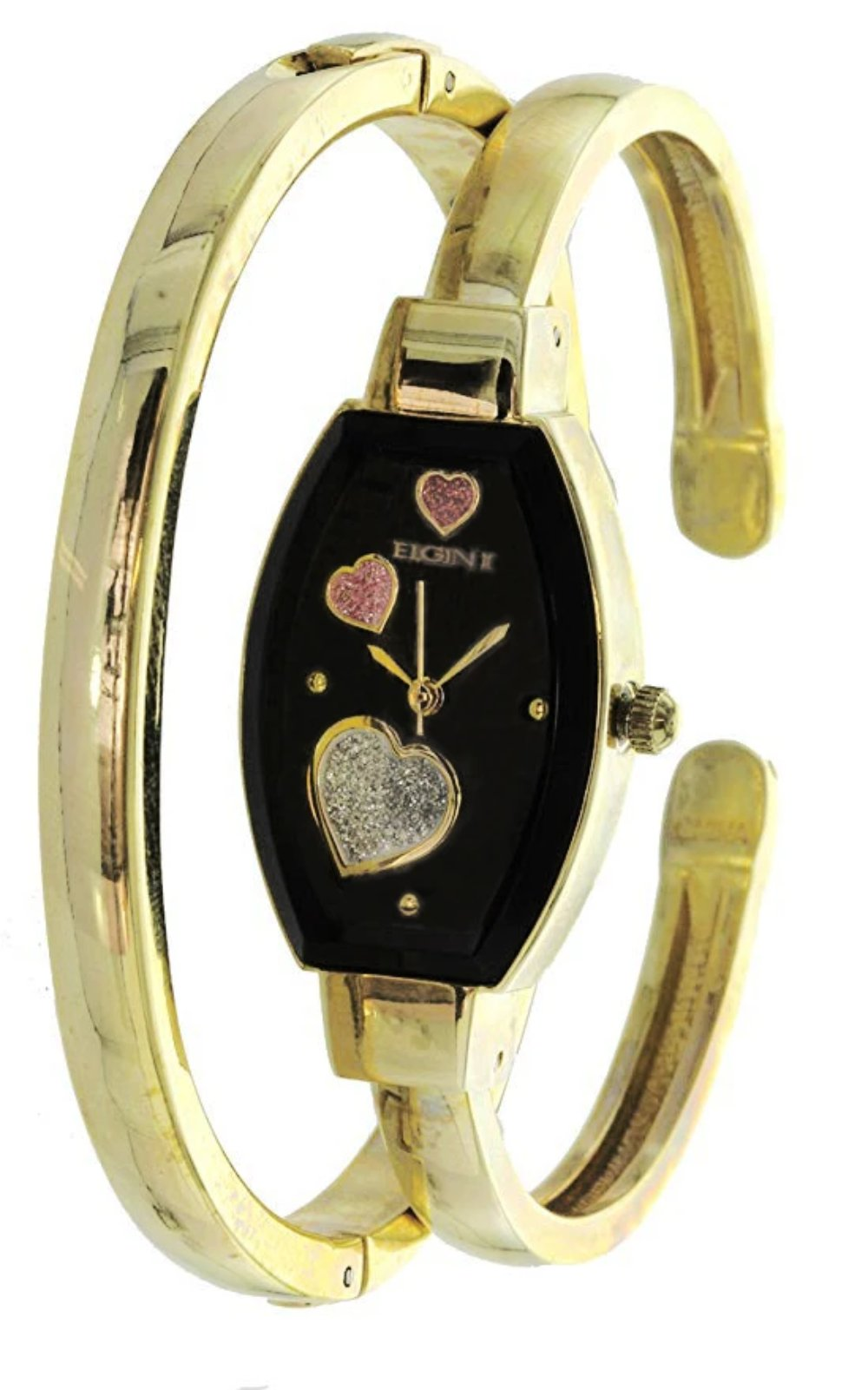 Elgin Women's Bangle Watch and Bracelet Set Raining Heart Dial ELS32