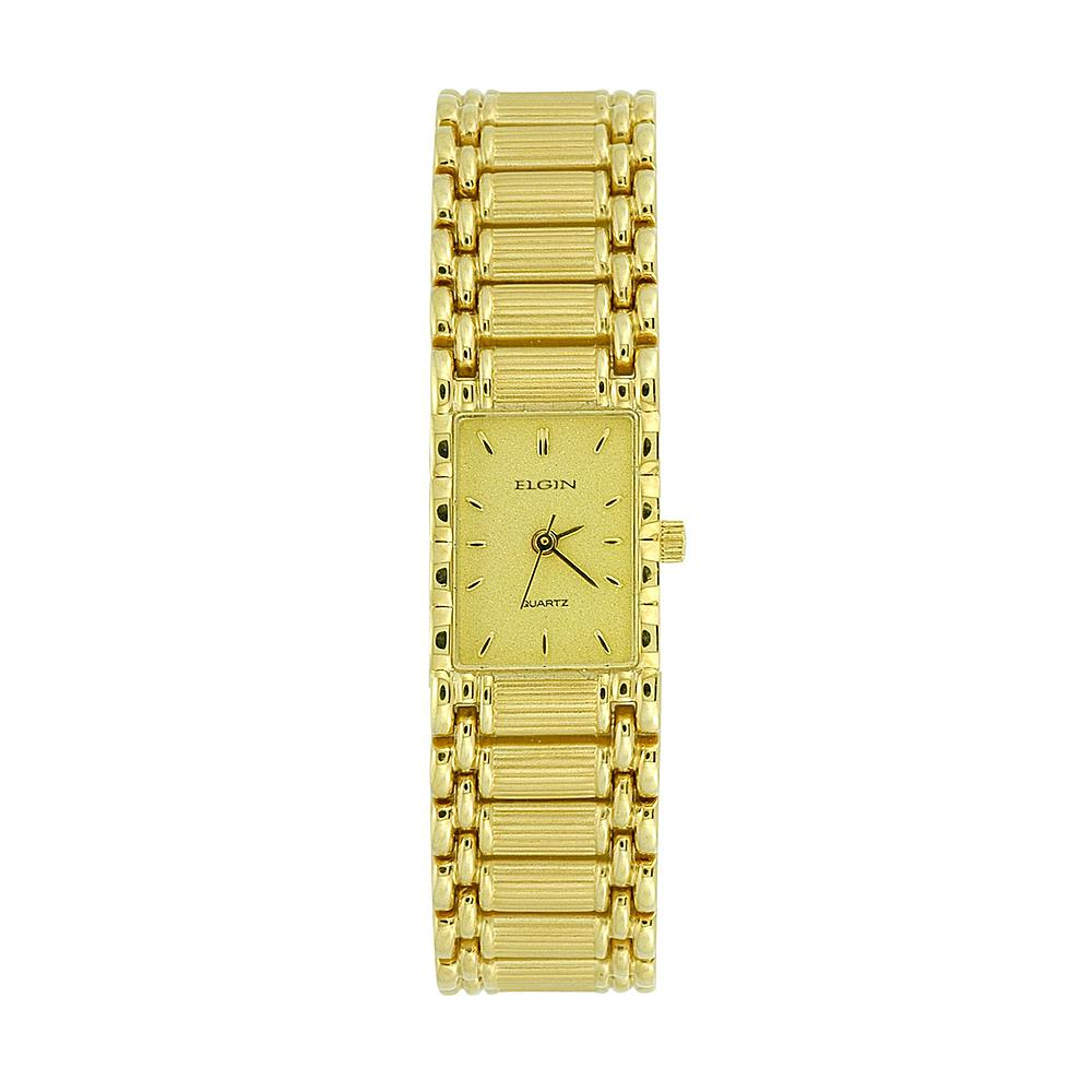 ELGIN Ladies Gold Tone Rectangle Case Champagne Dial - EM898N