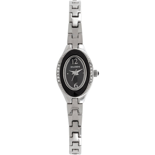 Elgin Women's Silver Oval Case Black Dial Czech Crystal Bracelet Watch - EG7006