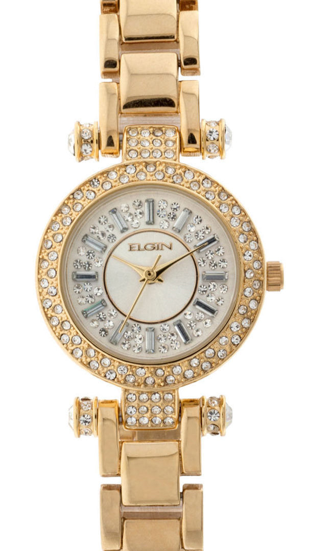 Elgin Women's Sunray and Crystal Round Dial Analog Watch, Gold Bracelet - EG9993