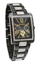 Load image into Gallery viewer, Elgin Men`s Black IP Crystal Band & Dial Multifunction Quartz Watch FG10003