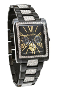 Elgin Men`s Black IP Crystal Band & Dial Multifunction Quartz Watch FG10003