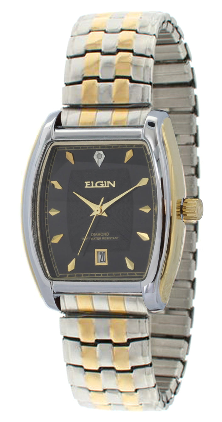 Elgin Men's Two-tone expansion Black Dial FG109 Genuine Diamond - FG109