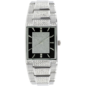 Elgin Men Silver Tone Black Dial Crystal Accented Jewelry Clasp Bracelet Watch - FG7029Blk-l61