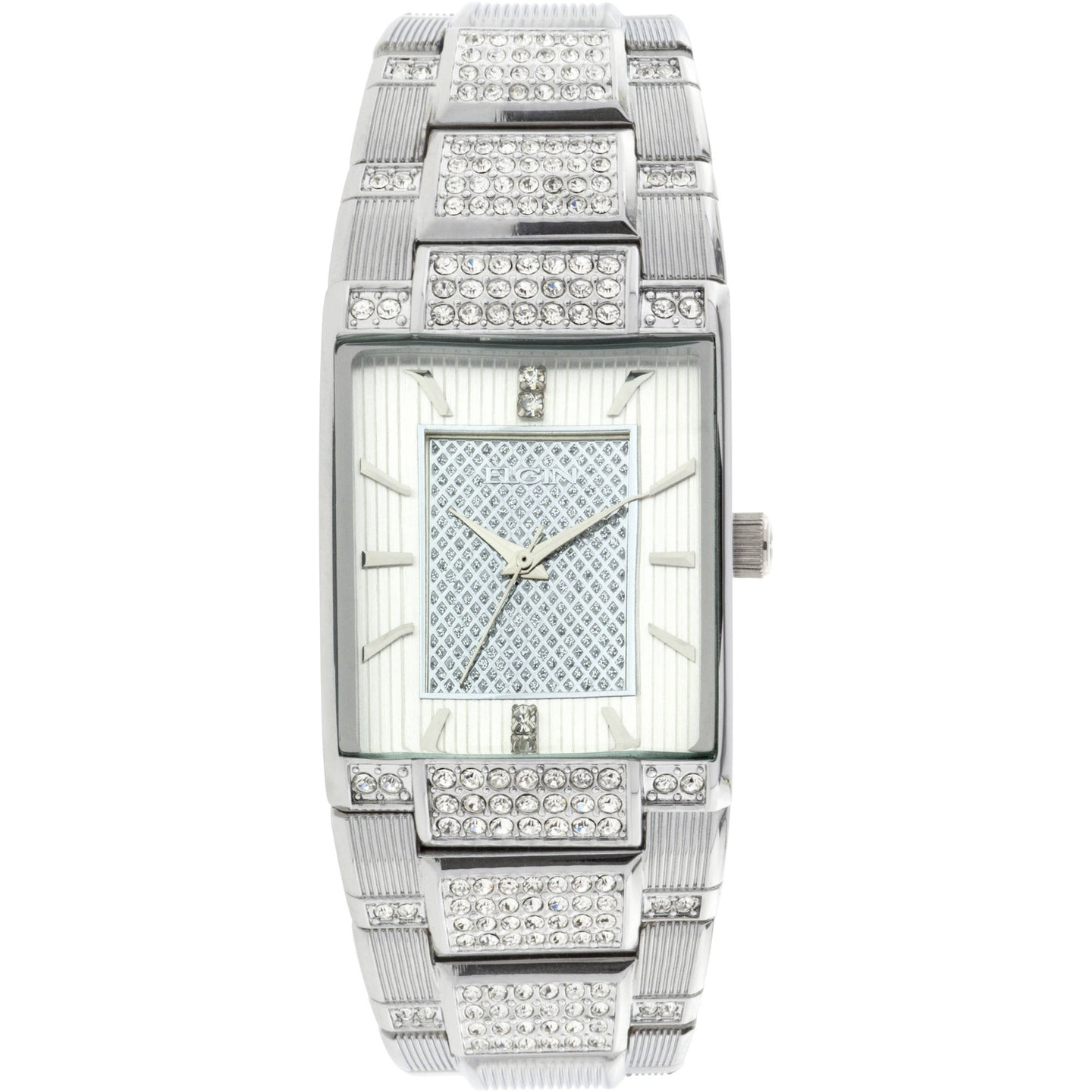 Men's Silver-Tone White Dial Crystal Accented Bracelet Watch