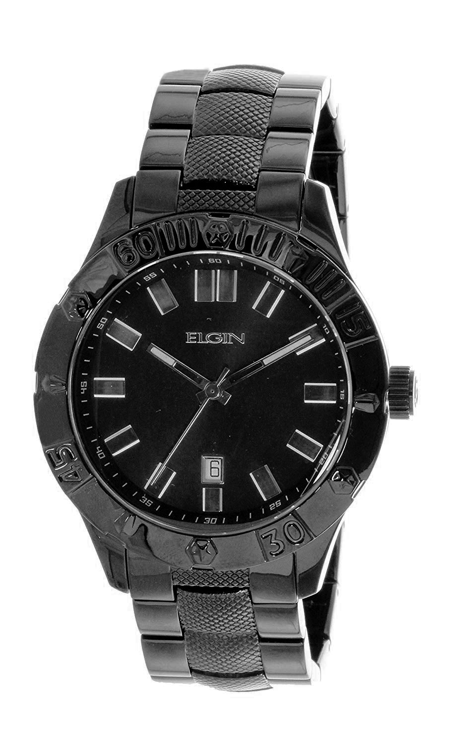 Elgin Men's Round Analog Black On Black Watch With Date FG7090