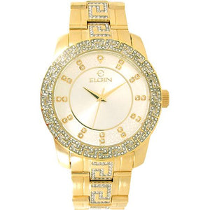 Elgin Men's Gold Oversize Watch with Genuine Crystals on bezel & Band