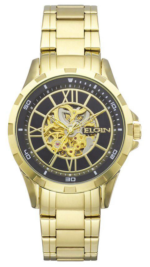 Elgin Men's Full Automatic Watch with Rose Arabic Dial, Goldtone - EG9040