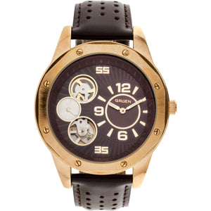 Gruen Men's Round Polished Gold Case Semi-Automatic Watch, Genuine Brown Leather Strap