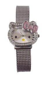 Sanrio Women's Cat Shape Case Crystal Bow Mesh Band Analog Watch - HK1491