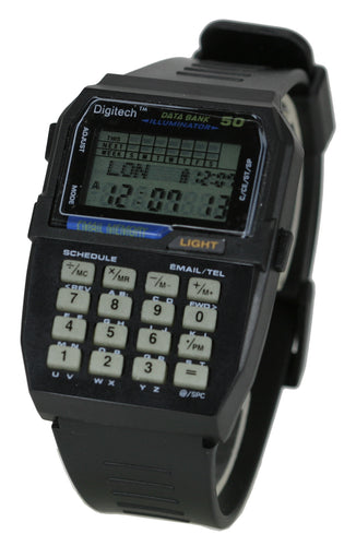 VINTAGE RETRO RUBBER BLACK DATA BANK CALCULATOR DIGITAL MULTI FUNCTION SMART WATCH - WW064