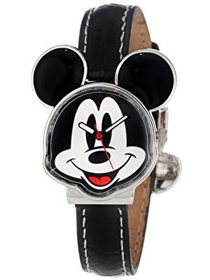 mickey mouse women's mck001b black leather strap watch