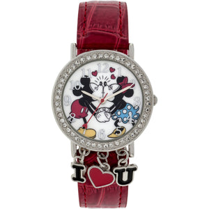 Disney Mickey Mouse Stone Case with Dangling Charms Character-Printed Dial Analog Watch