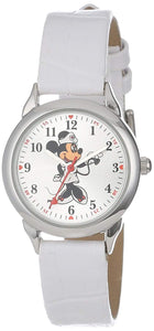 Disney Minnie Mouse Nurse Women's Round Silver Case and White Watch, Leather Strap - MCK308