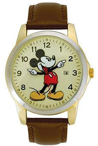 Disney Mickey mouse unisex gold tone & leather classic moving hands watch - MCK326