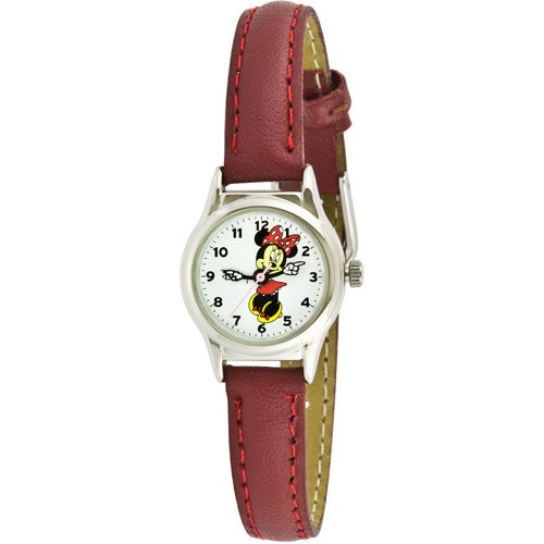 Disney Women's Minnie Mouse Molded-Hands Petite Red Watch, Genuine-Leather Strap - MCK371R