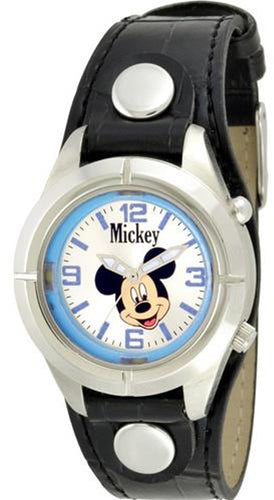 Disney Mickey Mouse With Light Black Leather Band Watch - MCK534