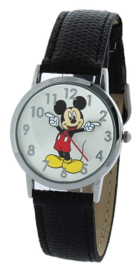 Disney Women's Mickey Mouse Molded-Hands Black Watch, Genuine Leather - MCK668