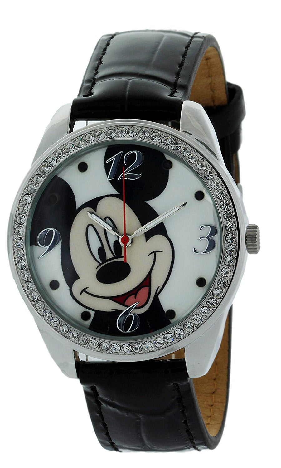 Disney Mickey Mouse Watch With Stone Bezel and Genuine Leather Black Strap - MCK919