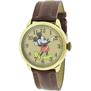 Disney Mickey Mouse Molded-Hands Vintage Brown Watch, Simulated-Leather Strap - MCK959